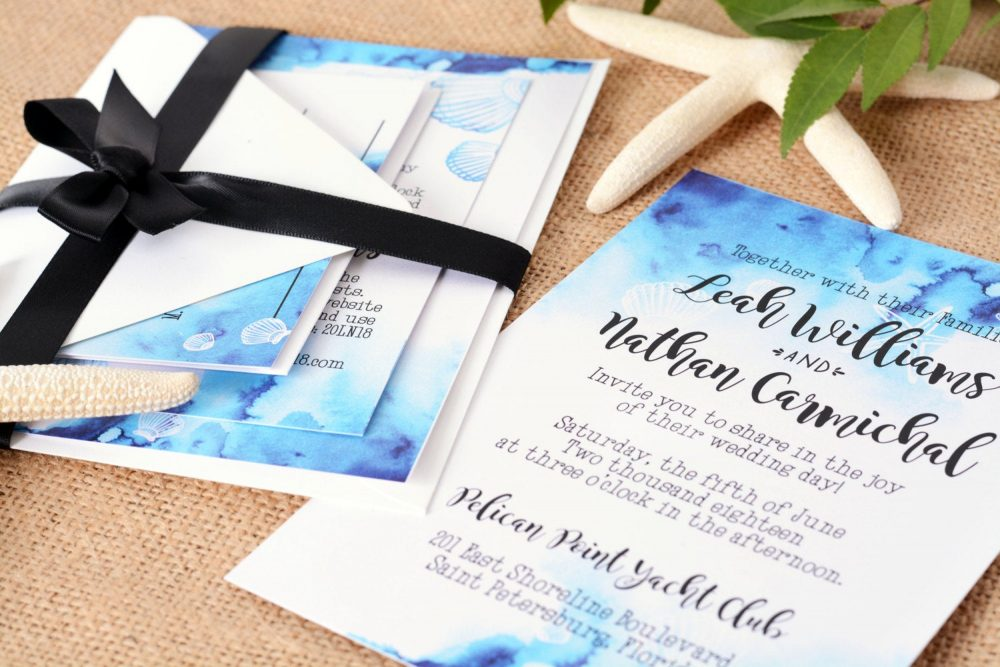 Beach Wedding Invitation, Seashore Seashell Invite, Watercolor Invitation Suite #wdi-174