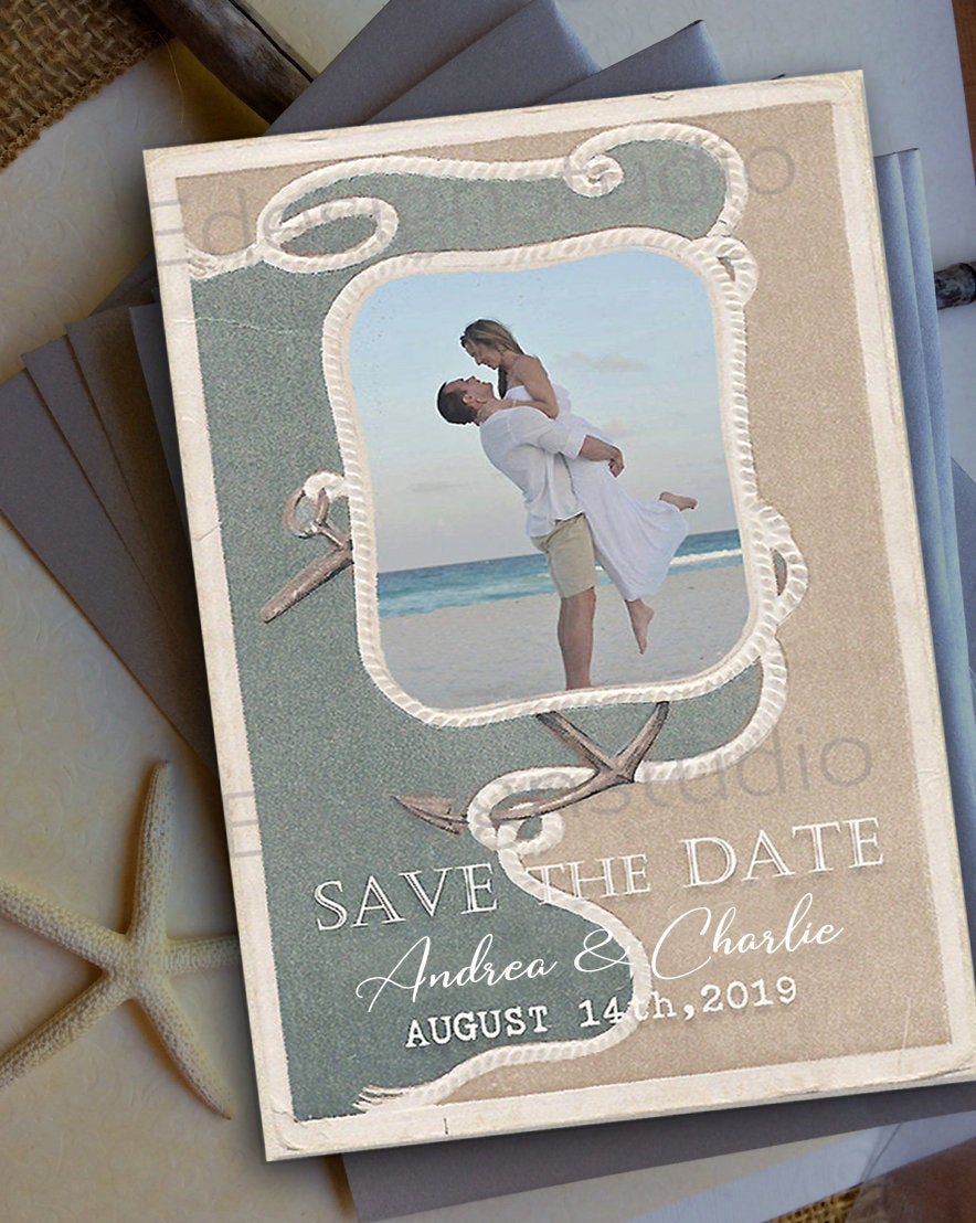 Beach Wedding Rope Anchor Save Date Cards Magnets Postcards Invitations Invites Destination Wood Rustic Mint Aqua Starfish