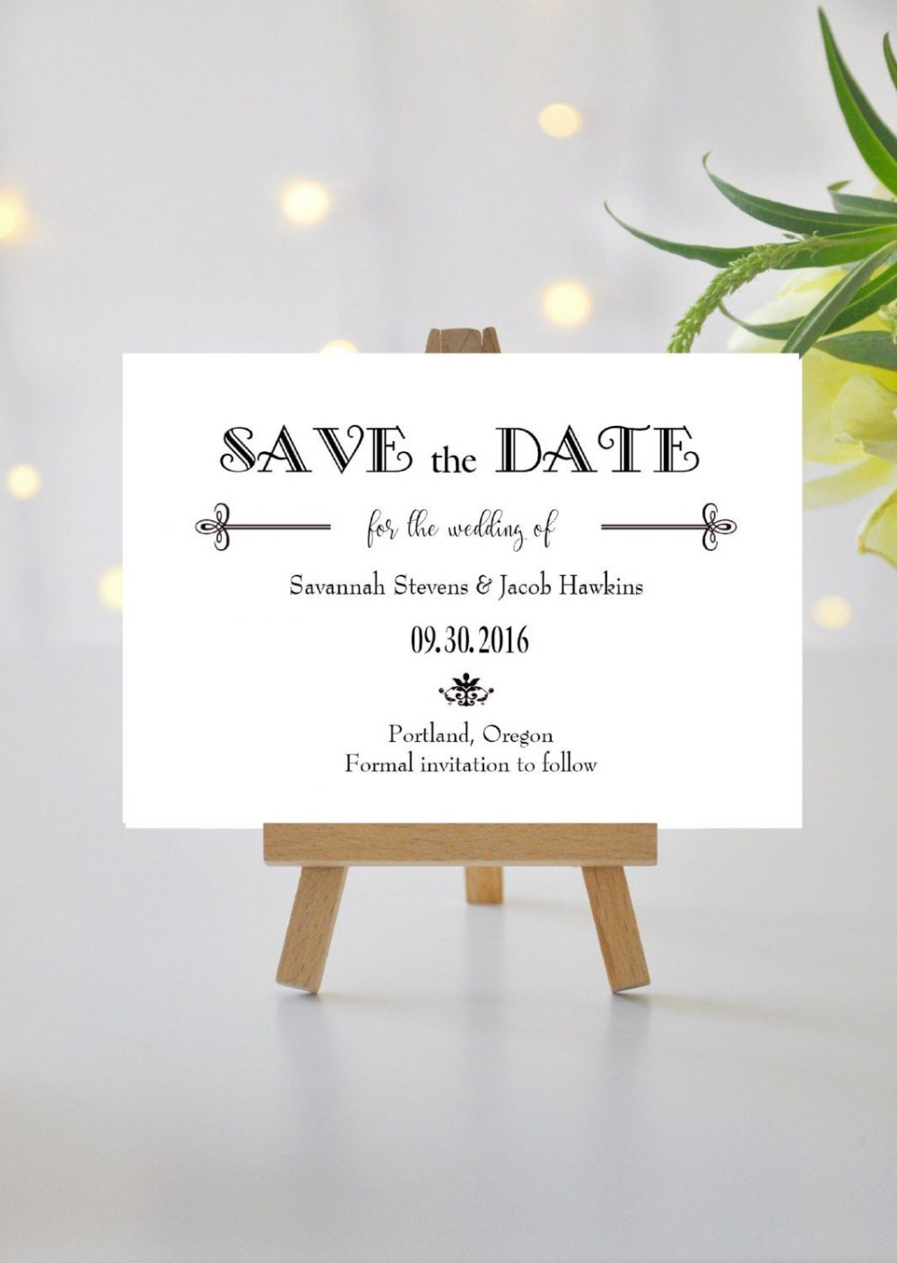 Elegant Save The Date Cards Black & White | Simple Modern Card Tie Printed Wedding Gatsby Style