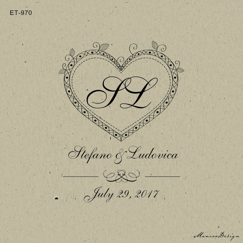 Heart With Initails -Customized Save The Date Wedding Favor Stamps - -Elegant Save Date Personalized Rub0Ber Stamp-Invitation Stamp