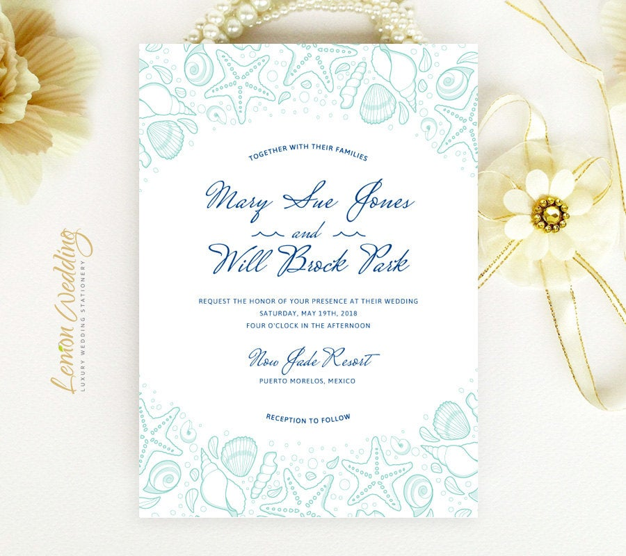 Beach Wedding Invitation | Starfish, Seashell, Turquoise, Tropical, Nautical, Destination Invitations Printed