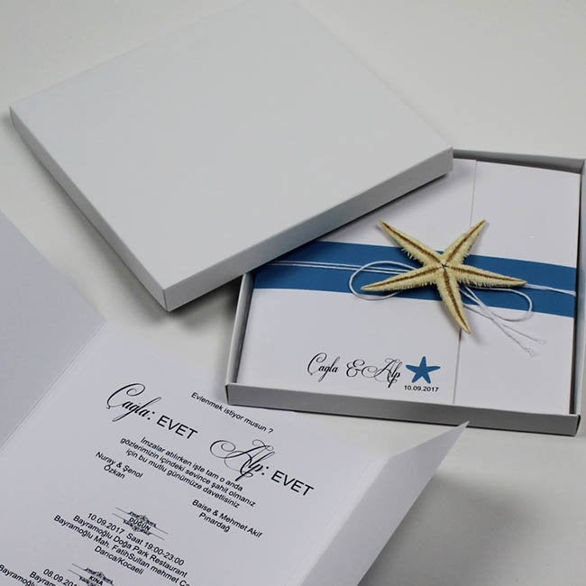 Beach Wedding Invitations, Themed Starfish Coastal Finger Starfish, Boxed Invitation