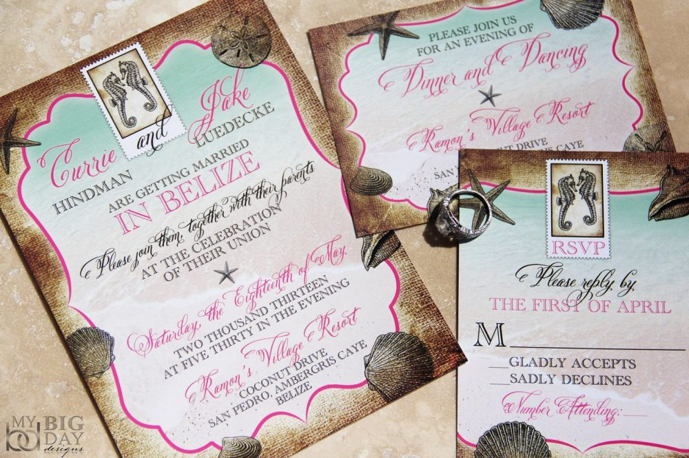 Tropical Destination Wedding Invitation. Sea Shells Wedding Invitations. Starfish Wedding. Beach Destination