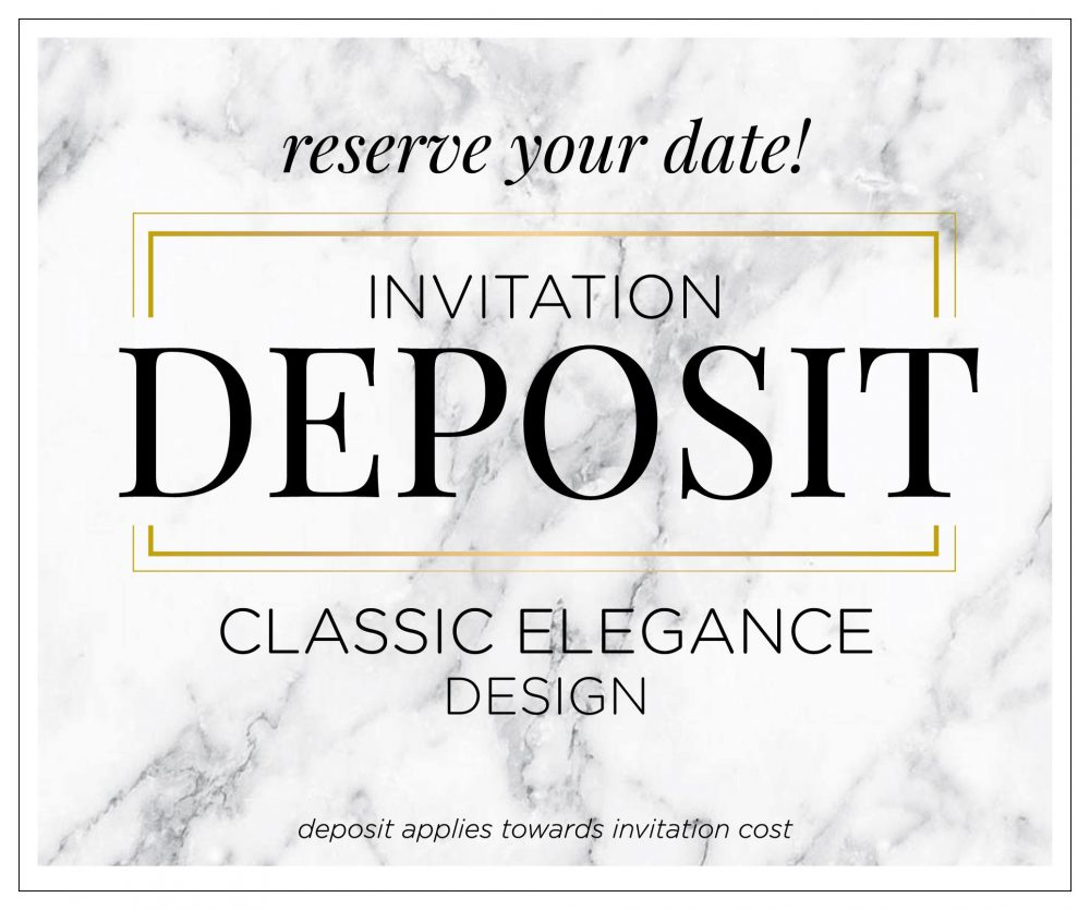 "Classic Wedding Invitation Set, Modern Elegant Invitations, Printed Invitation, Formal Suite - ""Classic Elegance"" Deposit"