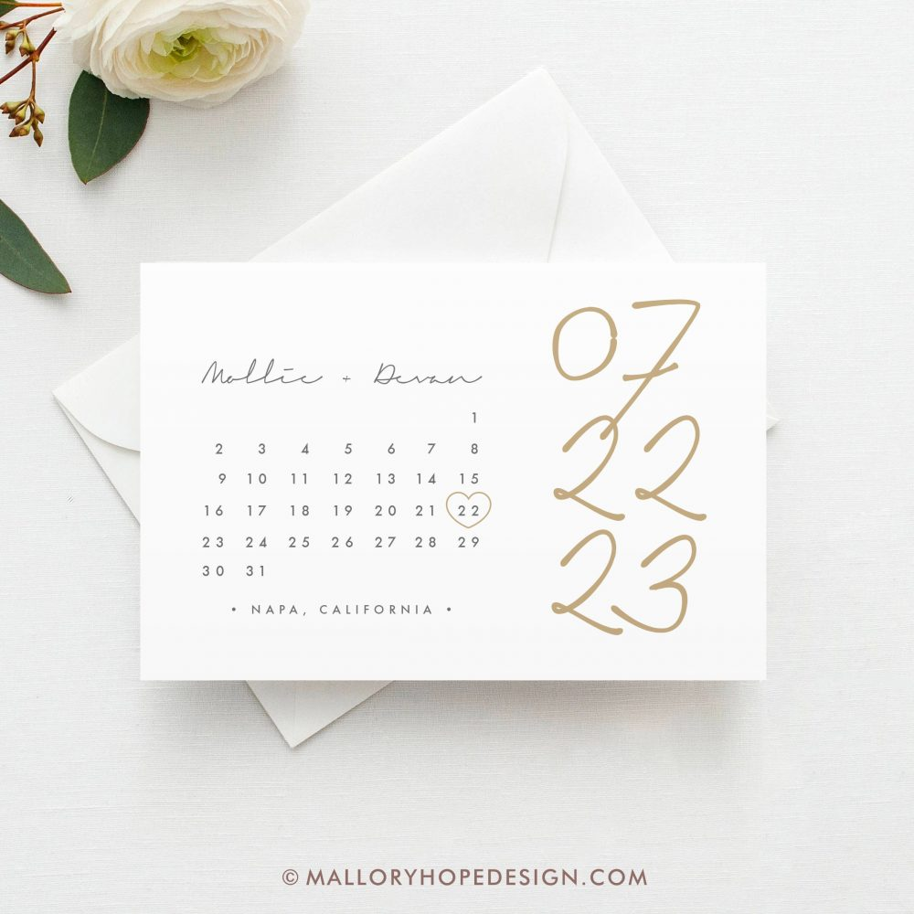 Boho Calendar Save The Date Postcard, Magnet Or Flat Card, Clean Save Date, Calendar Modern Date Card