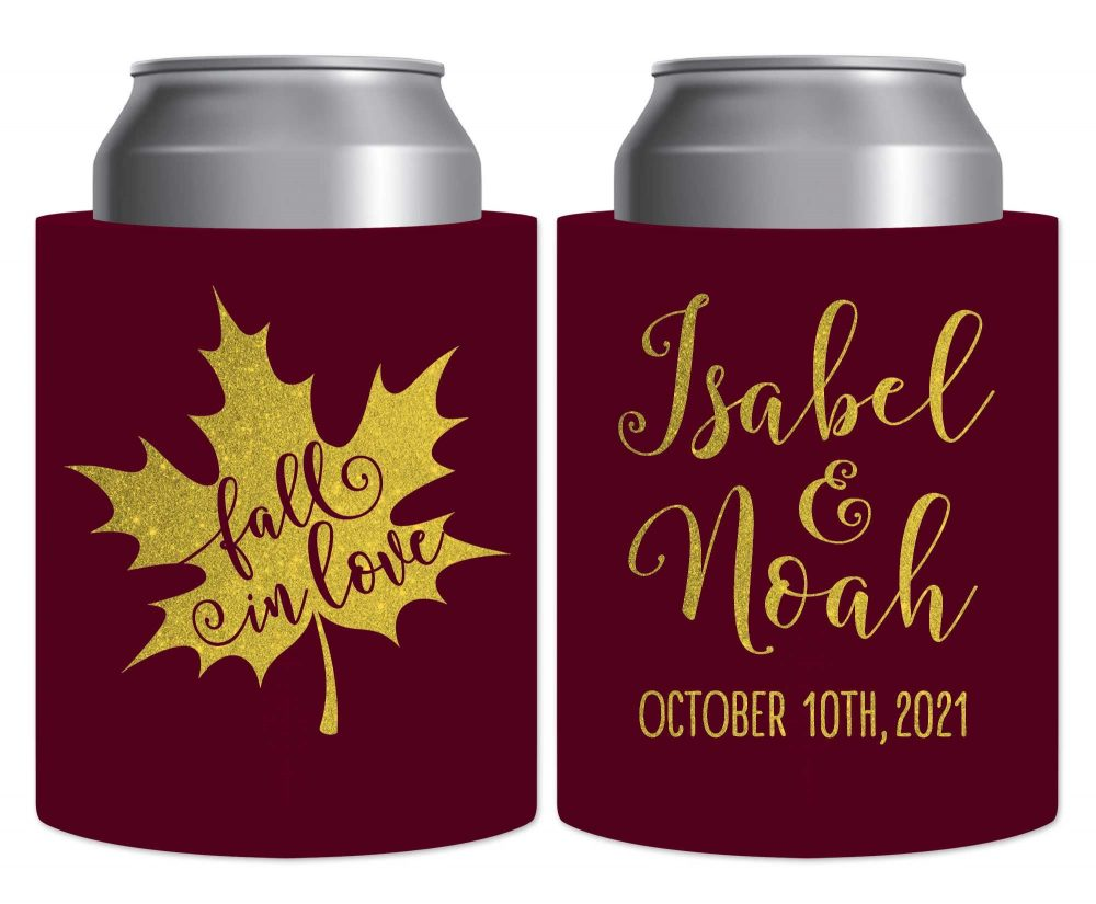 Fall Wedding Favors Autumn Decor Beer Can Coolers Hard Foam Holders Rustic in Love 5A