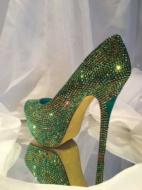 Custom Womens Green Ab Party Wedding Formal Swarovski Crystal Rhinestone High Heel Bling Shoes, Platform, Pointed Toe, Bridal Shoes