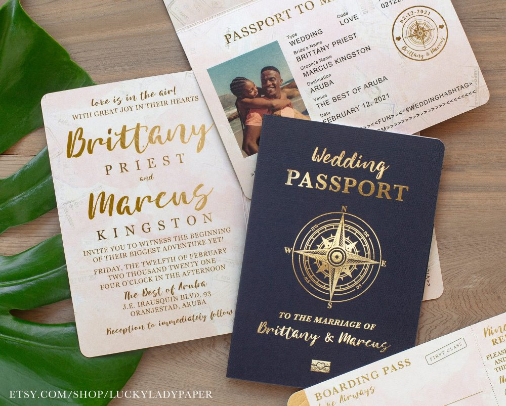 Destination Wedding Passport Invitation Set in Gold Foil & Blush Watercolor Compass Design By Luckyladypaper - See Item Details To Order