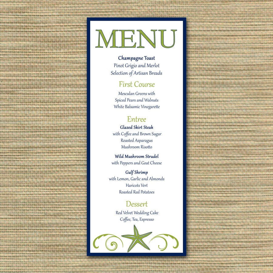Navy & Lime Menu/Beach Theme, Starfish Ocean Seahorse Matching Invitation Suite Modern Contemporary Nautical Custom Made, You Print