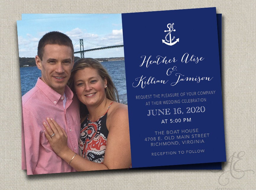 Navy Mint Beach Nautical Starfish Wedding Save The Date Dates Photo Magnets Post Cards Travel Invitation Grey Coral Pink Teal Navy Gold