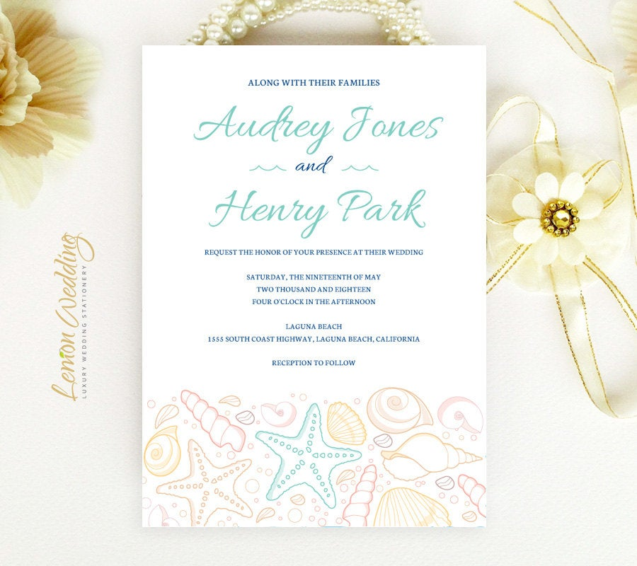 Beach Wedding Invitation | Tropical Invitations, Starfish, Seashell, Destination, Nautical, Hawaii, Cruise Ship Invites Printed
