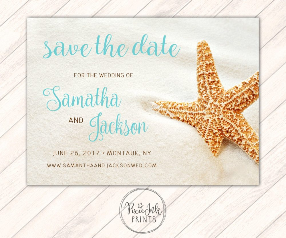 starfish Save The Date, Invitation, Wedding, Beach Printable, Theme