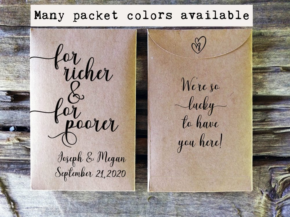 Lottery Ticket Wedding Favor Envelope Holder, For Richer Poorer, Scratch Card Holde, Rustic Wedding Favor, Vegas