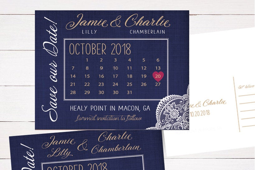 Navy Gold Lace Wedding Save The Dates Magnets Cards Postcards Announcements Grey Purple Navy Coral Pink Burgundy Maroon