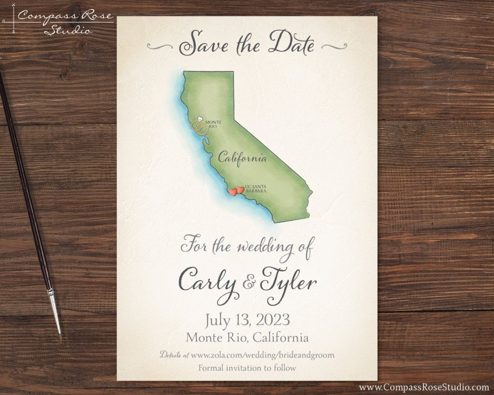 Wedding Map Save The Date, Destination Invitation, Vintage Watercolor Map, Elopement Reception Announcement, Any Location, Deposit