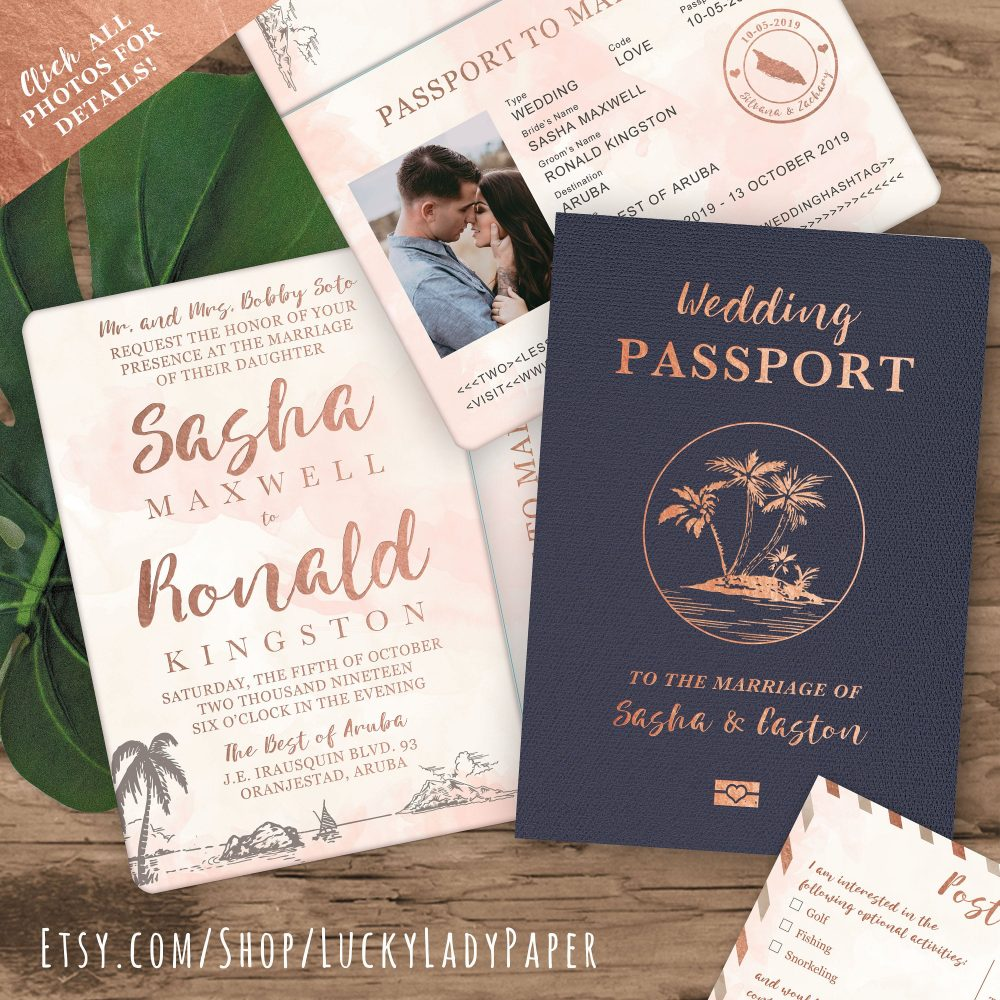 Destination Wedding Passport Invitation Set in Rose Gold & Blush Watercolor Tropical Design By Luckyladypaper - See Item Details To Order