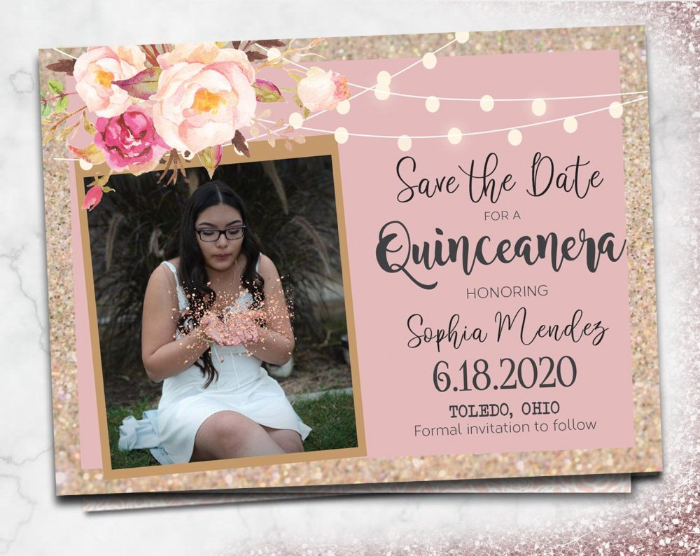 Quinceanera Save The Dates Photo Magnets Cards Girls Birthday Calendar Lace Navy Purple Floral Blue Grey Pink Burgundy Rose Gold Sweet 15 16