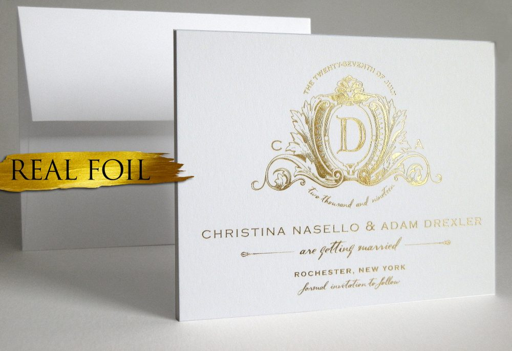 Gold Foil Save Date | Rose Gold, Silver Wedding The Cards Elegant Gold Logo Announcement