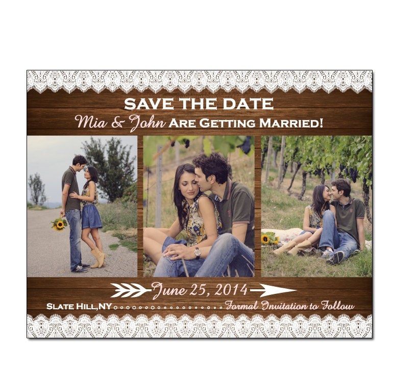 Country Wood & Lace 3 Photo Save The Date Magnet Or Card Diy Printable Digital File Print | Extra
