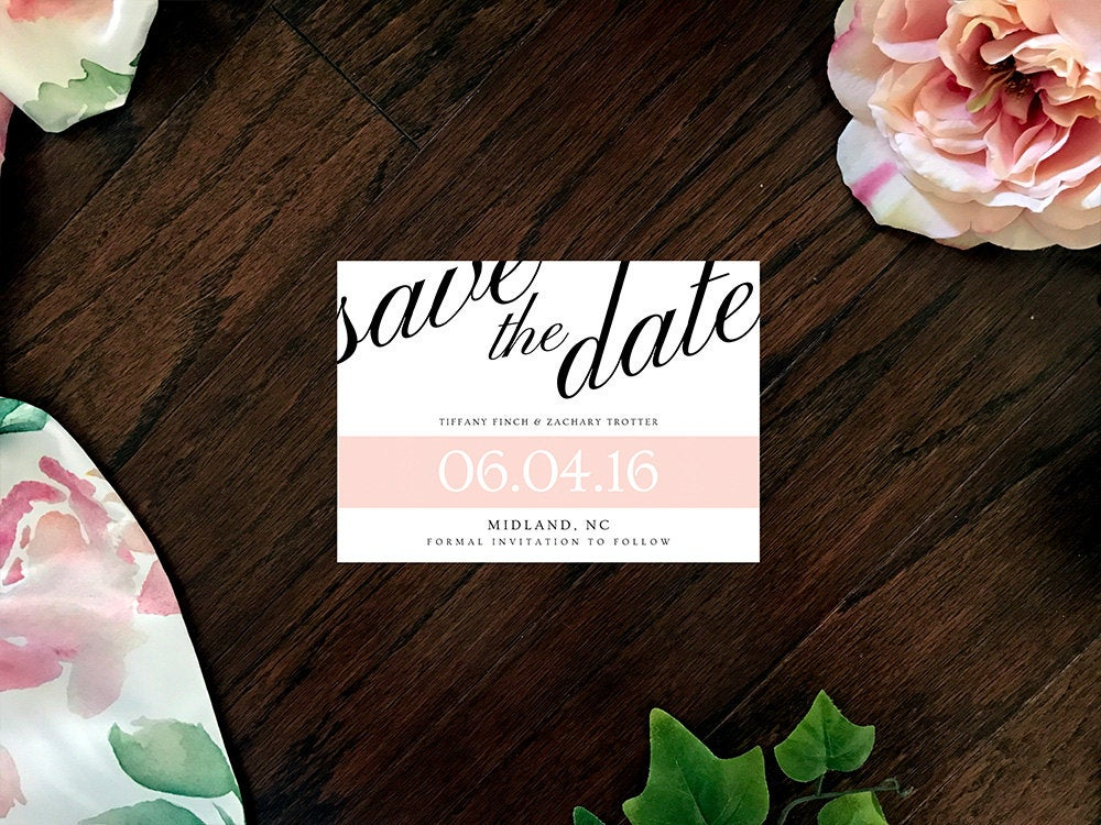 Simple Elegance Save The Date | Pink Wedding Minimal Elegant Black & White