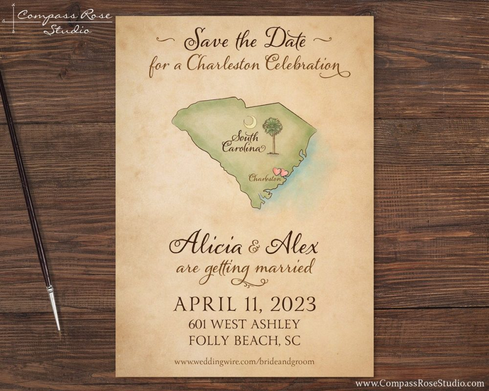 Vintage Wedding Map Save The Date, Watercolor Map, South Carolina Elopement Announcement Reception, Any Location, Deposit