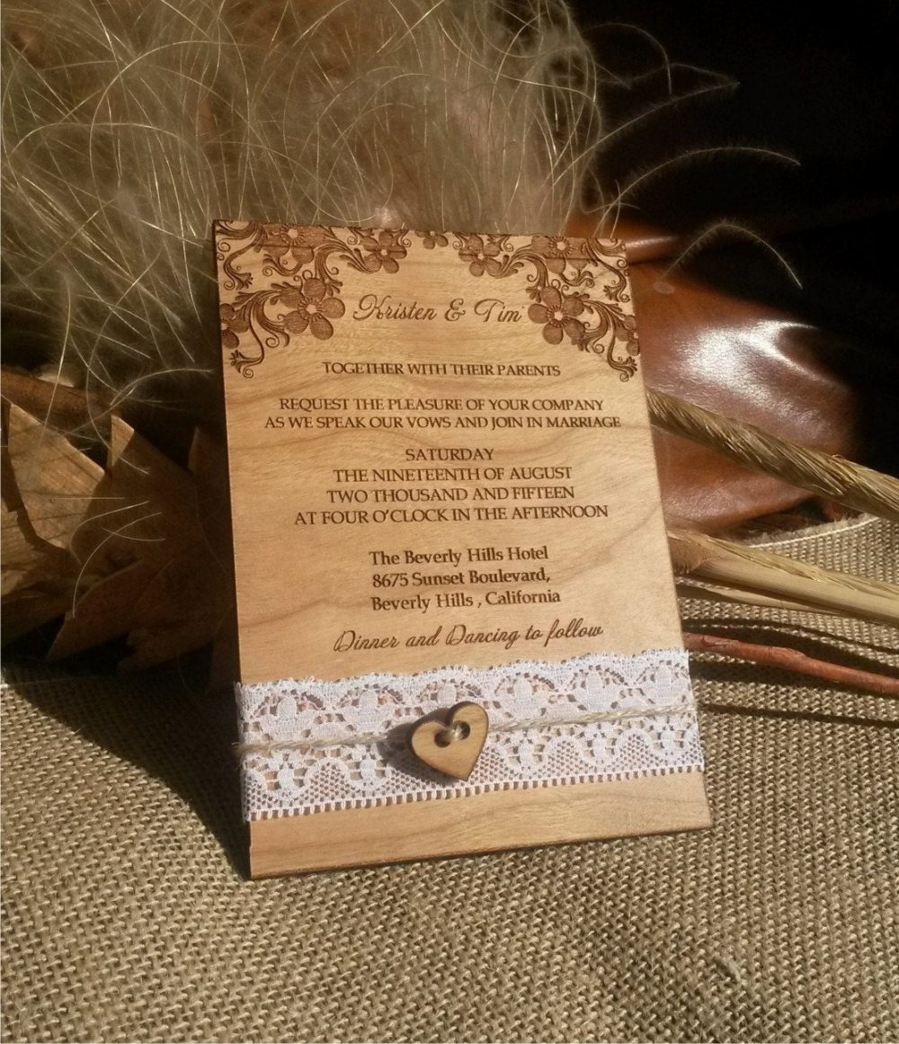 Luxury Wedding Invitations Natural Lace, Filigree Invitation Country Wedding, Gatefold Wood