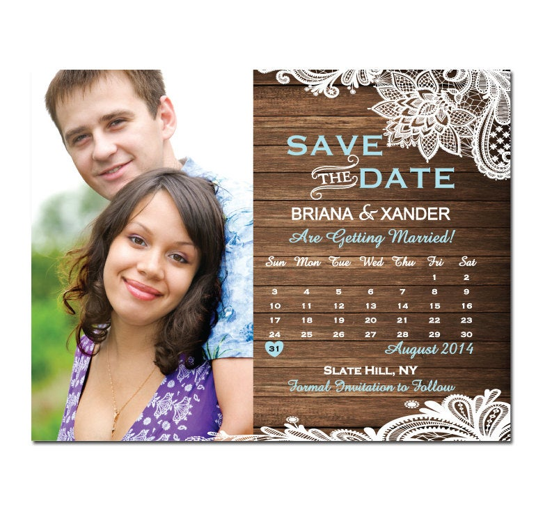 Wood & Lace Photo Save The Date Magnet Or Card Diy Printable Digital File Print | Extra Calendar