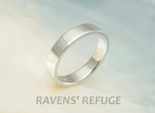 Simple Hand Forged Platinum Wedding Band/stacking Ring Pipe