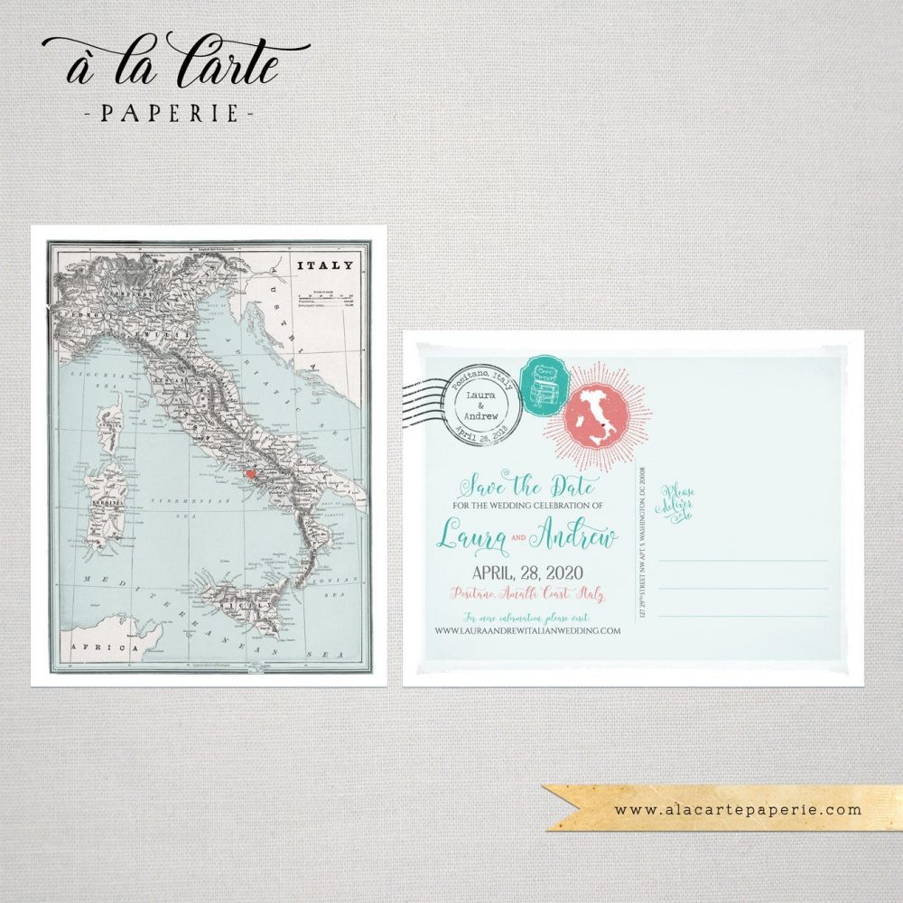 Destination Wedding Italy Save The Date Postcard Invitation Vintage Map - Deposit Payment