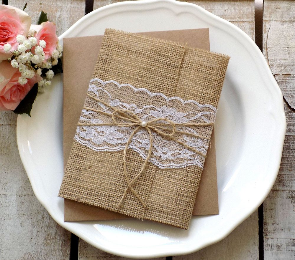 Burlap Wedding Invitation Suite Rustic Set Vintage Lace Invite Invitations Script