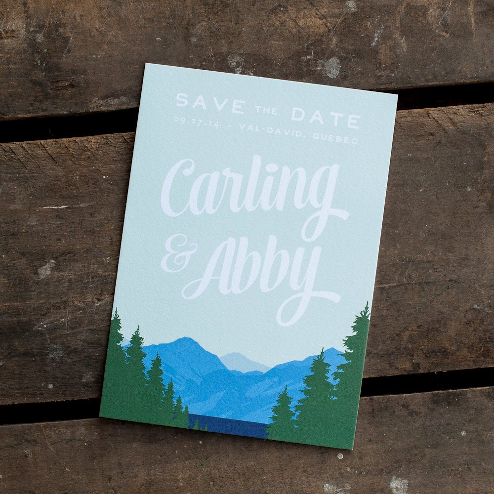 Mountain Save The Date, Date Card - The Range Save Date Postcard, Eco, Rustic Date, Woodland, Lake, Trees