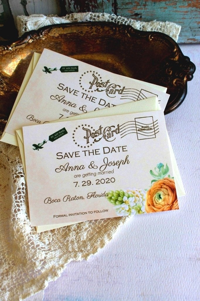 Save The Date Cards, Printable Diy Save Date, Vintage Postcard Wedding, Anniversary, Special Occasion