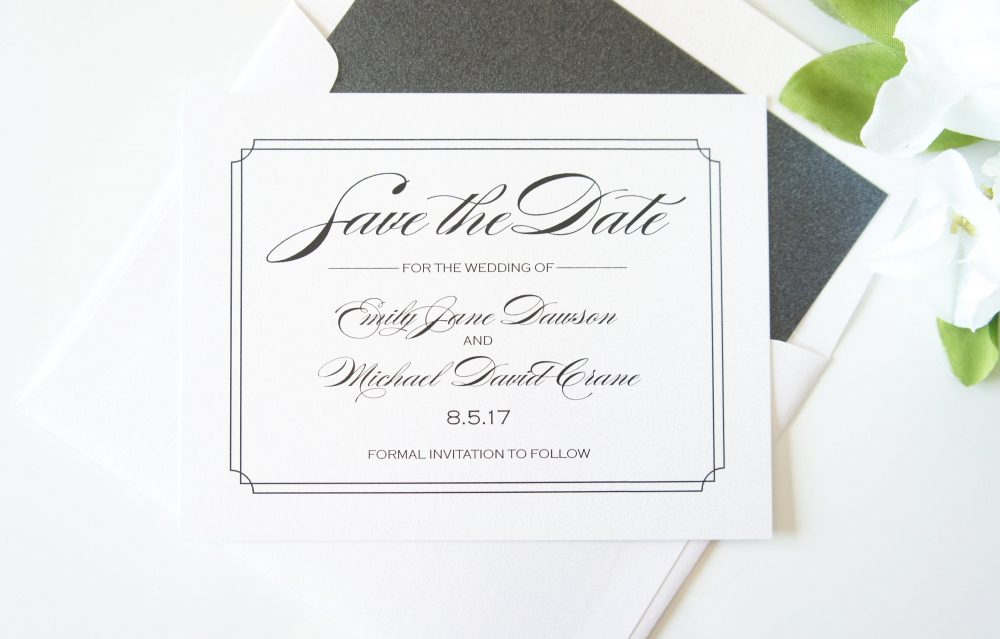 Elegant Save The Date Card, Formal Dates, Wedding Cards - Deposit