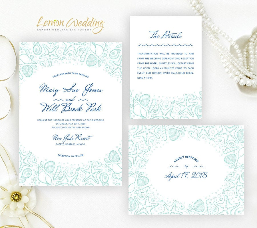 Printed | Destination Wedding Invitation Set Beach, Tropical, Nautical, Ocean, Cruise Ship, Starfish Cheap Invitations