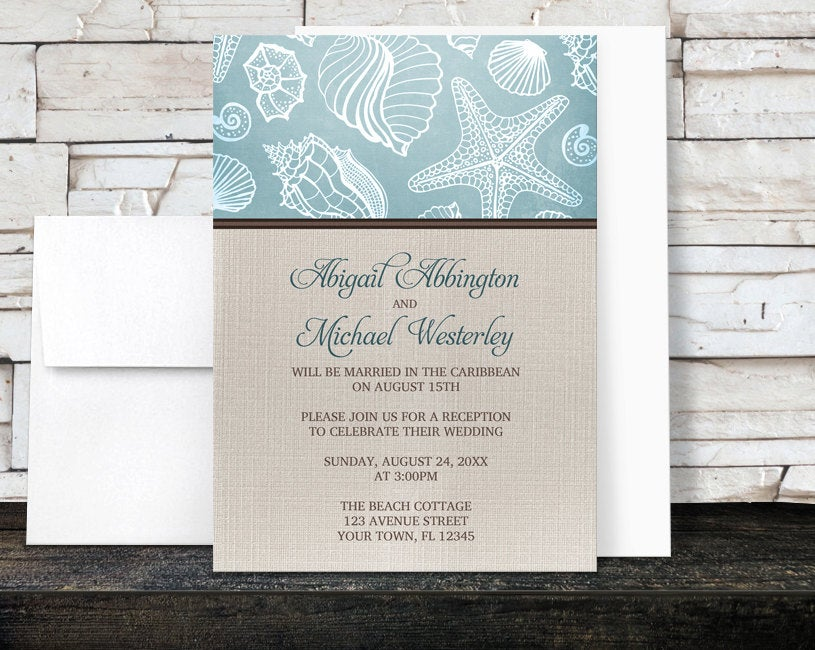 Beach Linen Reception Only Invitations - Rustic Blue Seashell Pattern With Brown & Beige Design Post-Wedding Printed