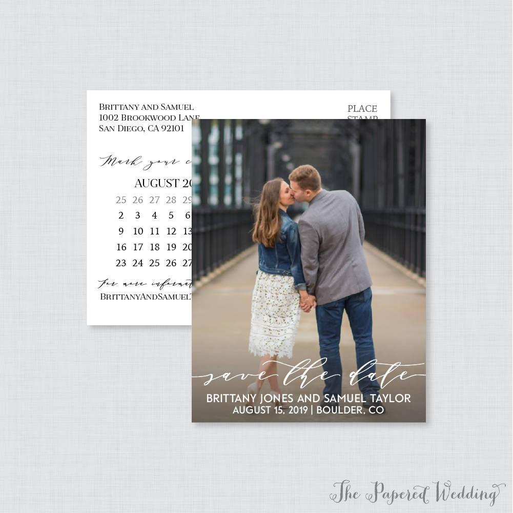 Printable Or Printed Photo Save The Date Postcards - Simple Our For Wedding, Elegant Script Dates 106