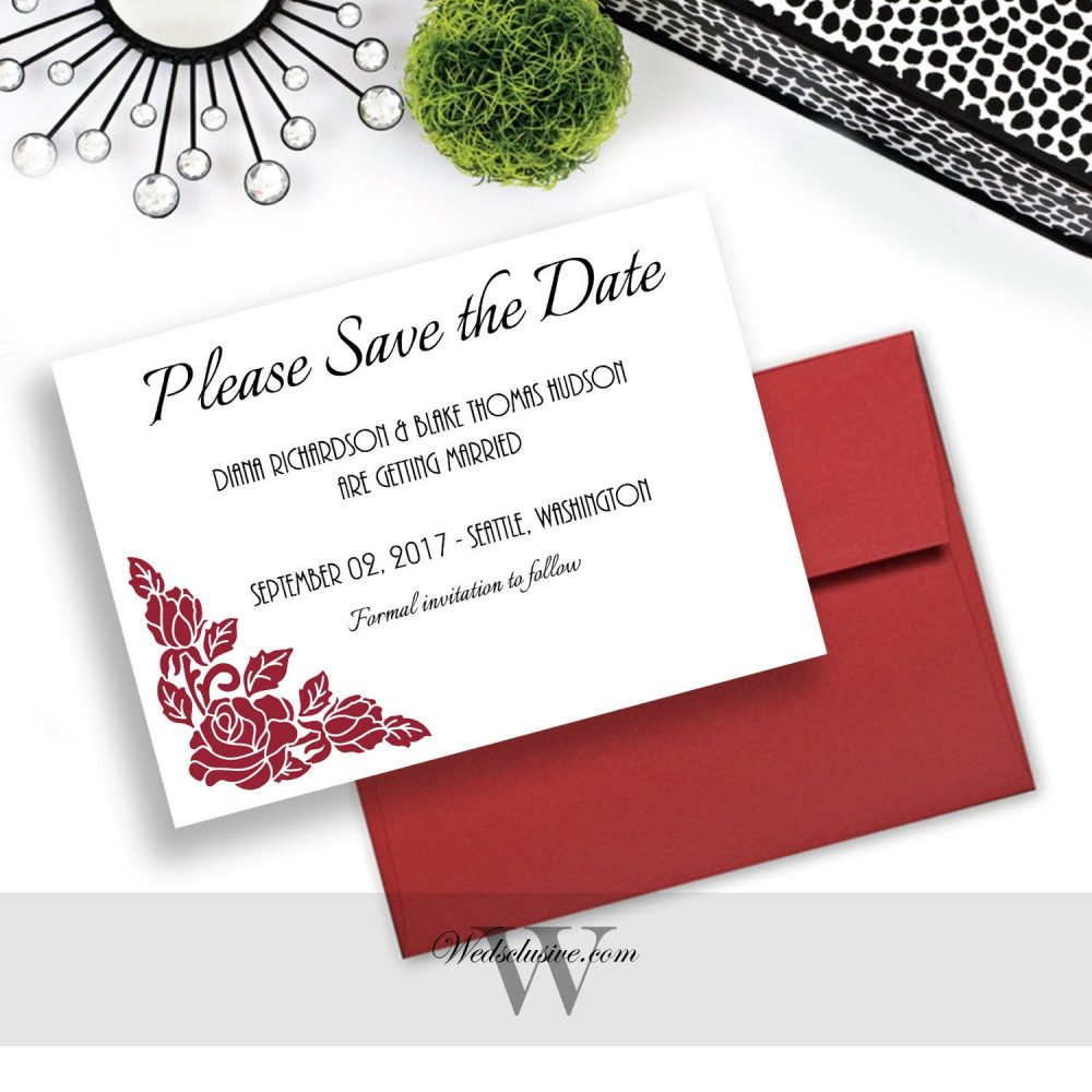 Red Rose Save The Dates, Elegant Wedding Announcement, Floral Date Cards, Invites, Modern Dates