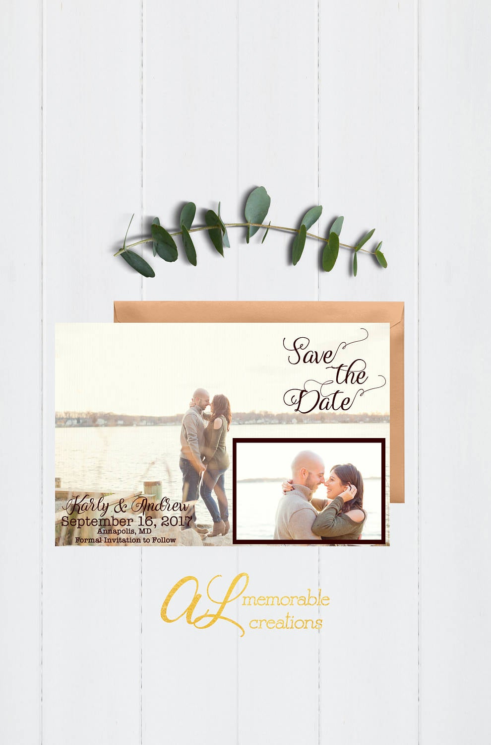 Vintage Save The Date, Wedding Photo Date Postcard, Two Card