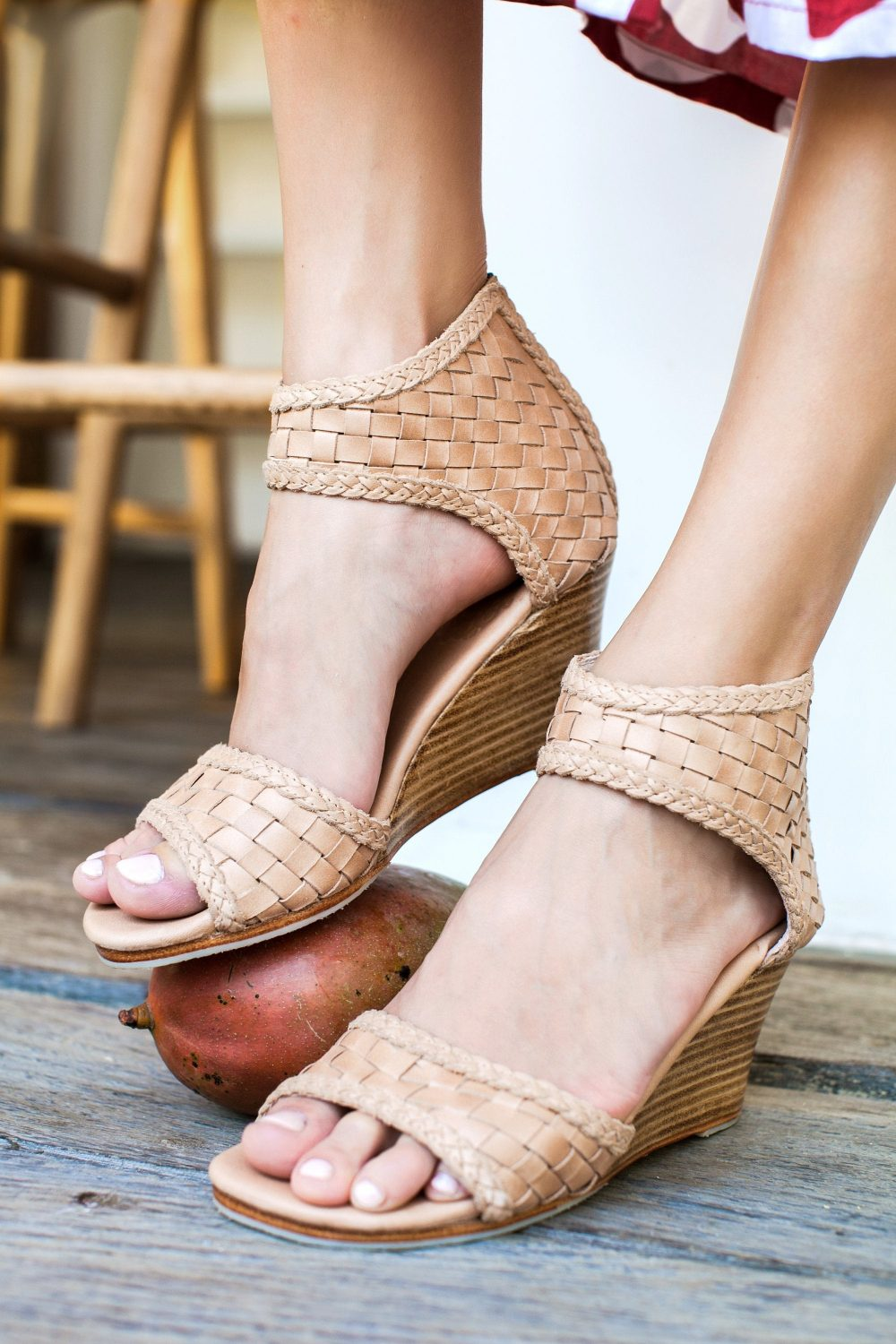 Athena Wedge Sandals | Barefoot Leather Wooden Platform Shoes Wedding Wedges For Bride