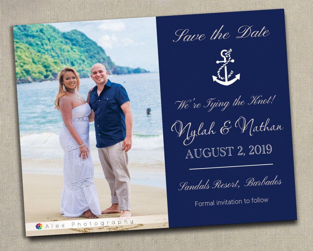 100 Nautical Beach Anchor Starfish Navy Wedding Save The Date Dates Photo Magnets Post Cards