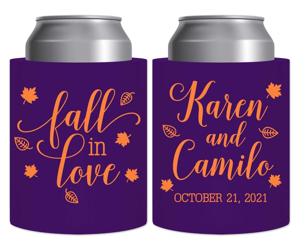 Fall Wedding Favors Autumn Decor Beer Can Coolers Hard Foam Holders Rustic in Love 9A