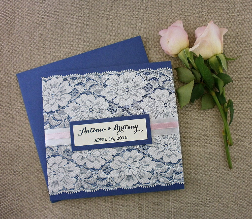 Navy Blue Wedding Invitation With White Lace, Lace Invitation, Shimmer Glitzy