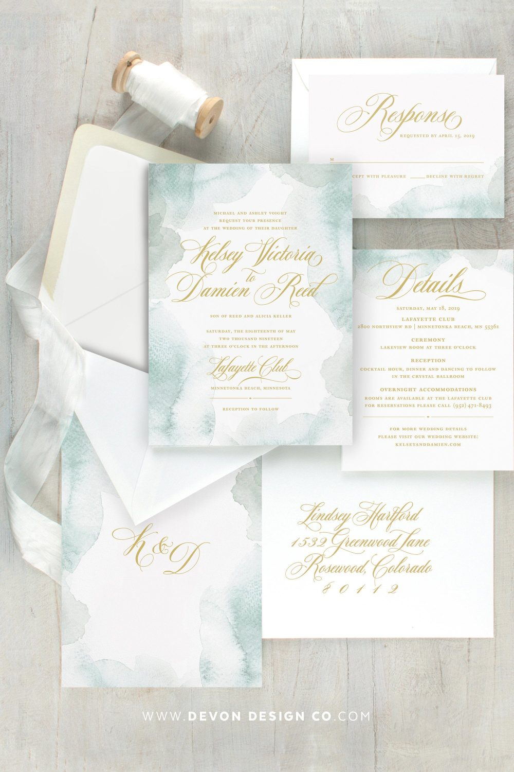 Dusty Blue Watercolor Wedding Invitations, Light Wedding, Elegant Invitation, Beach Printed Invitations