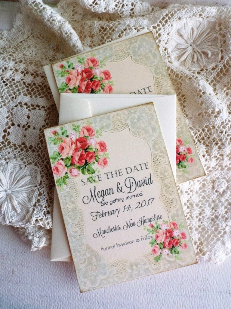 Lace & Roses Save The Date Cards - Wedding Romantic Vintage By Avintageobsession On Etsy
