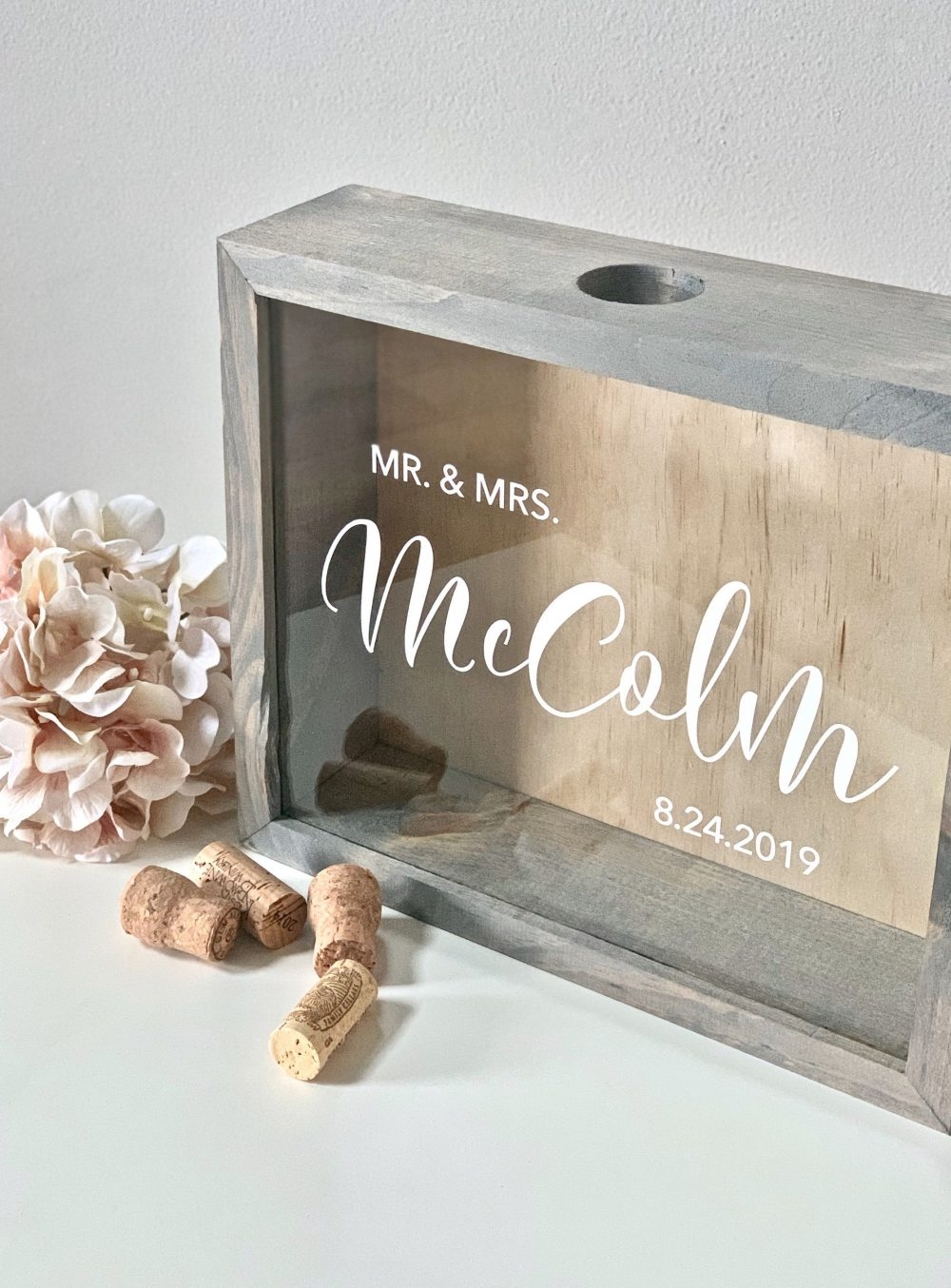 Wine Cork Holder | Wood Shadow Box Wedding Guest Book Alternative Display Case Holds Flowers, Messages, Champagne Corks, Tickets & More