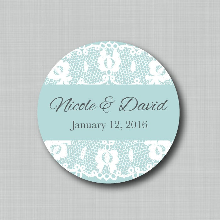 Custom Wedding Favor Labels Lace Overlay Stickers For Candy Buffet Treat Bags Welcome Bag Save The Date Envelope Seals