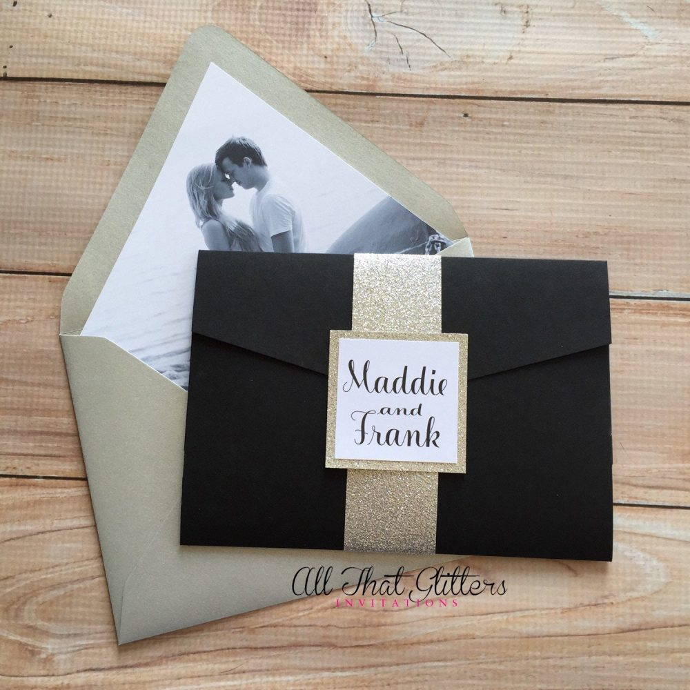 Black & Gold Wedding Invitation, Calligraphy Invitation Suite, Wedding Invitation With Picture, Pocket Invitation, Madelyn