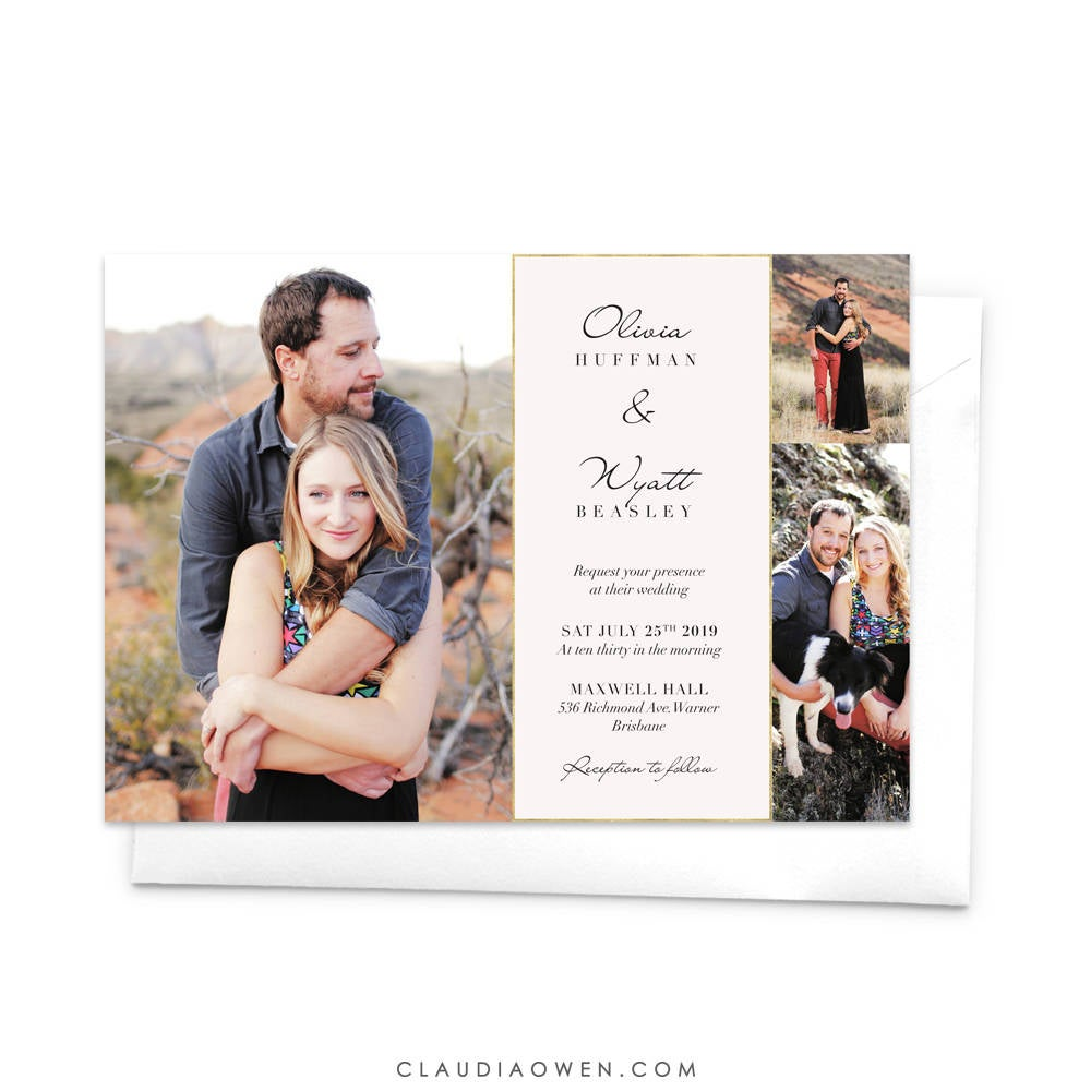 Simple Wedding Photo Card Invitation Marriage Invites, Modern Thank You Elopement Announcement We Eloped