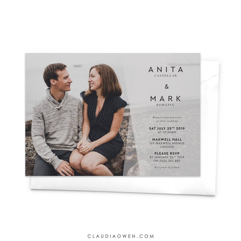 Custom Wedding Photo Party Invitation, Personalised Romantic Invite, Minimalist Simple Card, Invitation