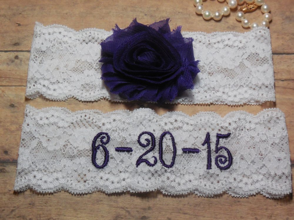 Monogrammed Garter, Monogram, Purple Lace Garter, Wedding Save The Date, Garter, Keepsake Wedding